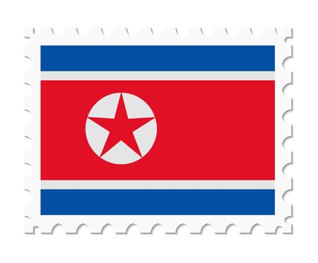 north korea: stamp flag north korea