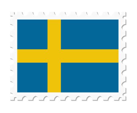 sweden: stamp flag sweden Illustration