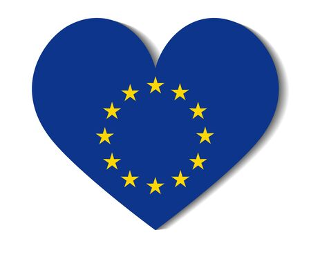 european union: heart flag european union