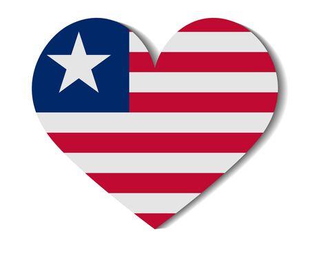 liberia: heart flag liberia Illustration