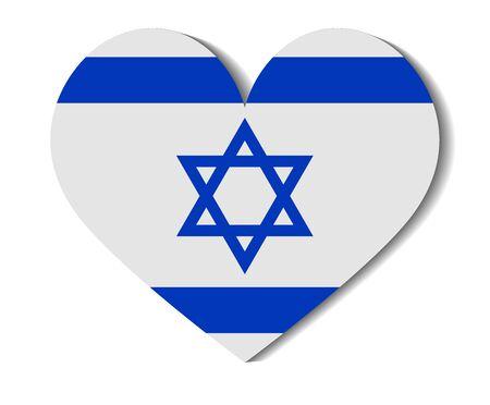 flag of israel: heart flag israel
