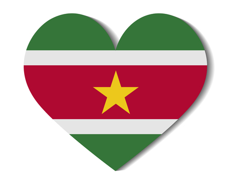 suriname: heart flag suriname Illustration