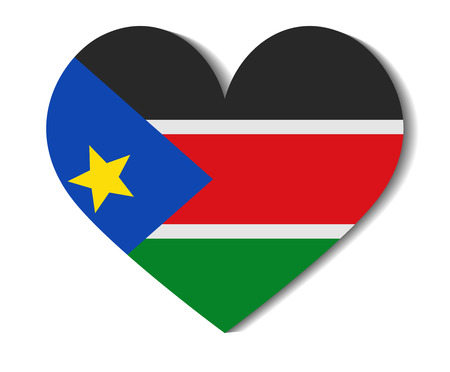 south sudan: heart flag south sudan