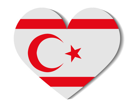 cyprus: heart flag northern cyprus Illustration