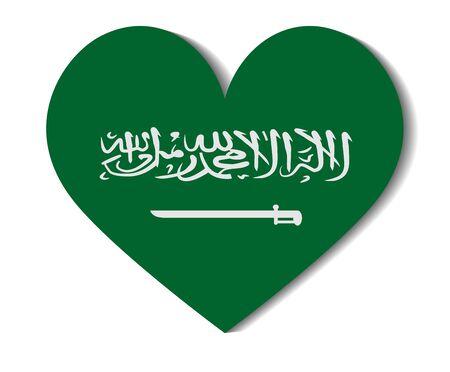arabia: heart flag saudi arabia Illustration