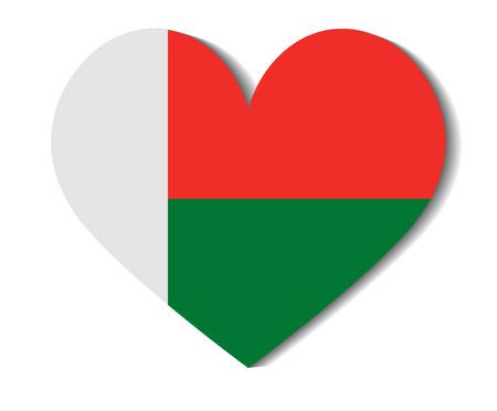 heart flag madagascar Illustration