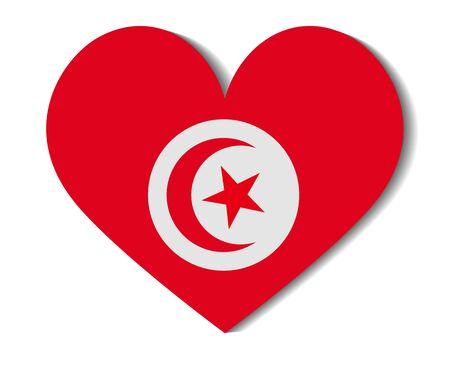 tunisia: heart flag tunisia Illustration