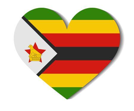 zimbabwe: heart flag zimbabwe Illustration