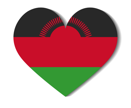 malawi: heart flag malawi Illustration