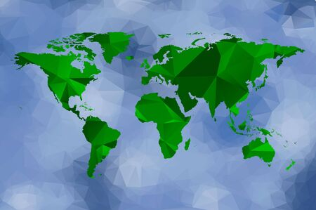 green world: low poly green world map and blue