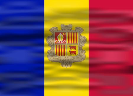 andorra: realistic flag andorra