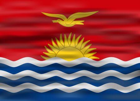 kiribati: realistic flag kiribati