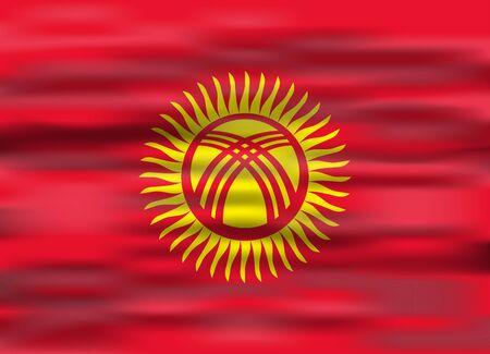 kyrgyzstan: realistic flag kyrgyzstan