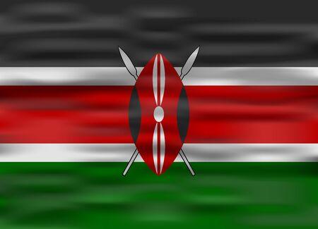 kenya: realistic flag kenya
