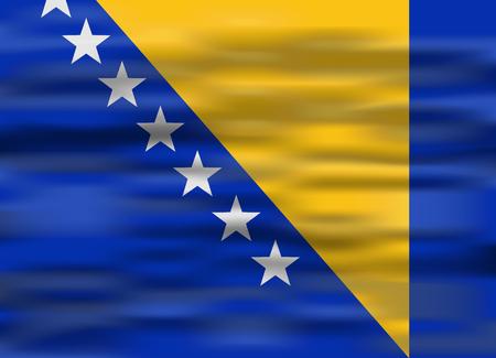 bosnia and herzegovina flag: realistic flag bosnia and herzegovina Illustration