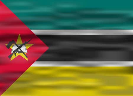 mozambique: realistic flag mozambique