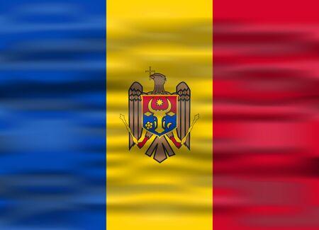 moldova: realistic flag moldova