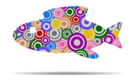 abstract fish: abstract fish circles icon vector