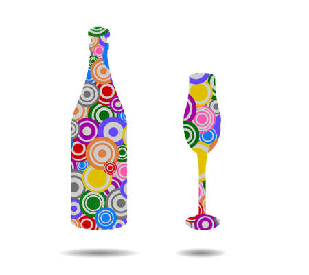 bottle and cup circles icon vector