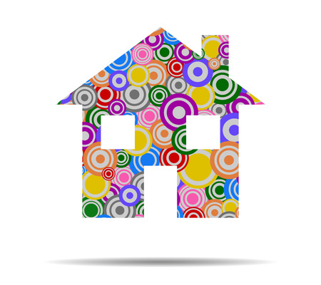 residential homes: house circles icon vector Illustration