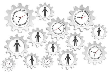 mechanism of progress: people and watches Illustration