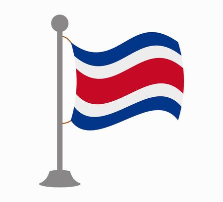 bandera de costa rica: Costa Rica mástil de la bandera Vectores