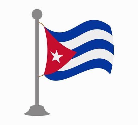 bandera de cuba: Cuba mástil de la bandera Vectores