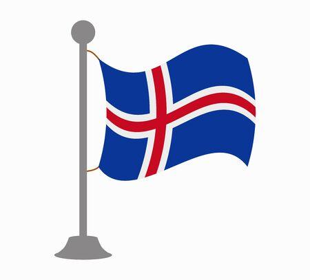 iceland flag: iceland flag mast Illustration