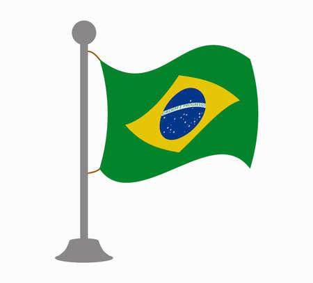 brazil flag: brazil flag mast Illustration