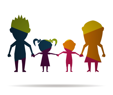 dolls family  multicolor icon vector