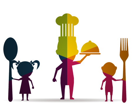 family eating multicolor icon vector Illustration