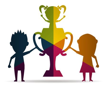champion family multicolor icon vector Illustration