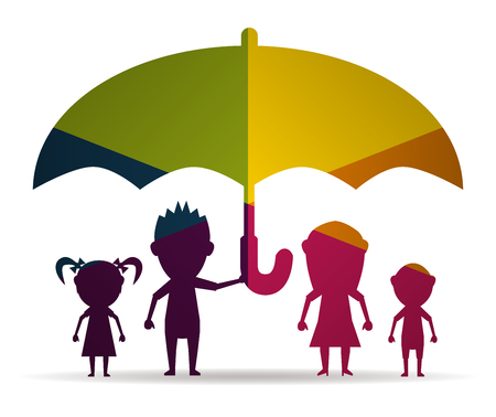 parentage: dolls family protected multicolor icon vector