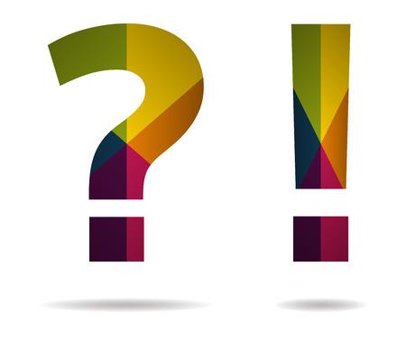 inquiry: interrogation and exclamation multicolor icon vector