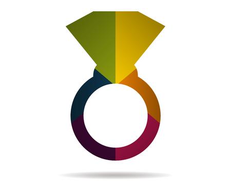 jeweller: ring multicolor icon vector Illustration