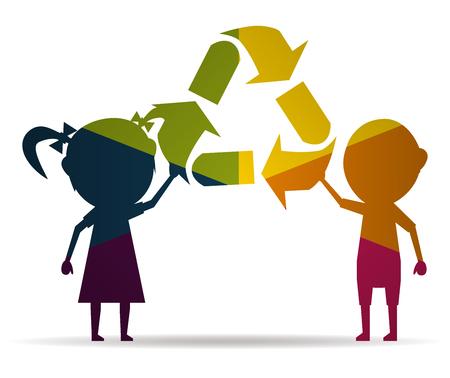 niños reciclando: niños y reciclaje multicolor del icono del vector Vectores