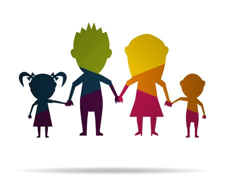 dolls happy family multicolor icon vector