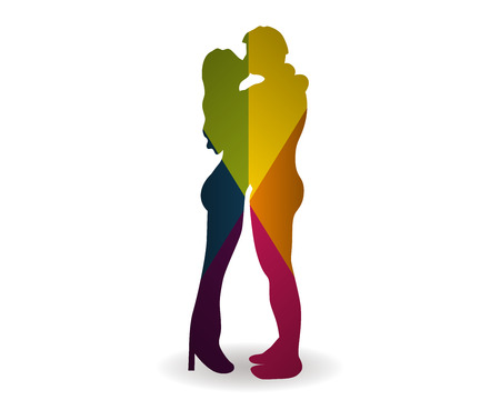 sweethearts: kissing couple multicolor icon vector Illustration