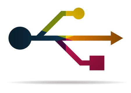 usb multicolor icon vector