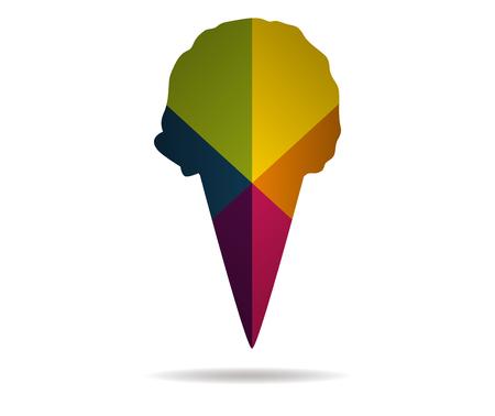 cornet: ice cream cornet multicolor icon vector Illustration