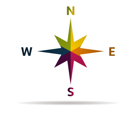 latitude: compass multicolor icon vector