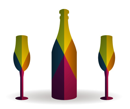 bottle and cup multicolor icon vector