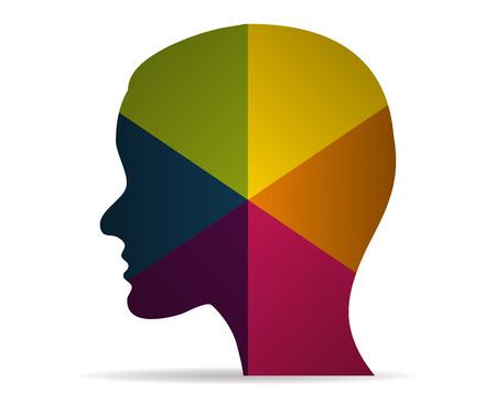 cabeza icono multicolor del vector