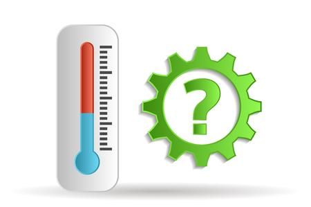 mechanism of progress: thermometer on white background Illustration