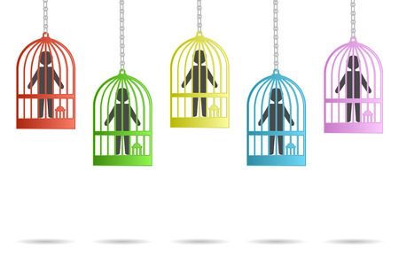 immobile: icons hung men and caged Illustration