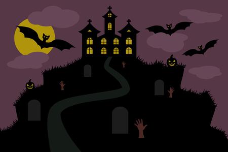 halloween background: halloween background castle mountain Illustration