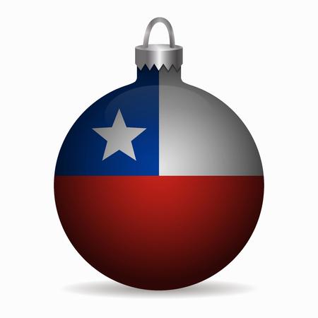 bandera de chile: bandera de Chile vector de la bola de Navidad