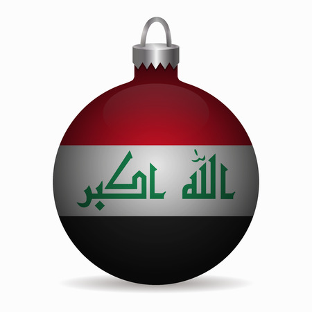 iraq flag: iraq flag christmas ball vector