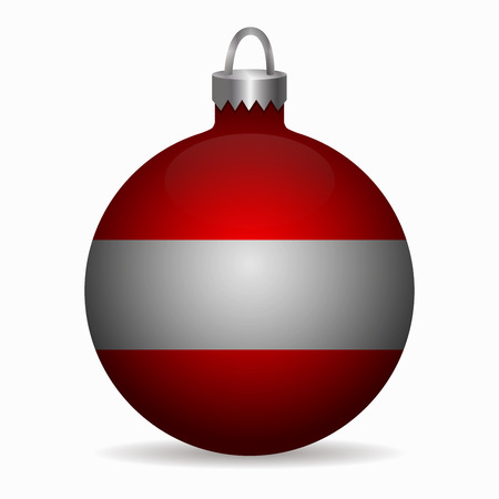 austria: austria flag christmas ball vector Illustration