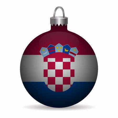 bandera croacia: bandera de croacia vector de la bola de Navidad